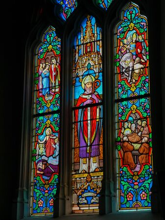 Stained Glass in the Church of St Martin in St Valery sur Somme, France, depicting Saint Martin