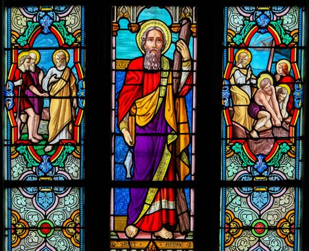 Stained Glass in the Church of St Martin in St Valery sur Somme, France, depicting Saint Andrew