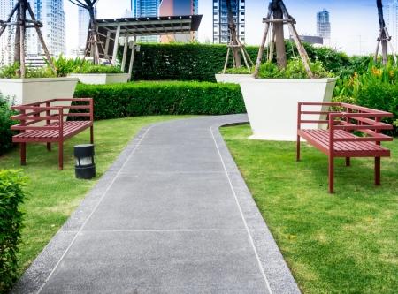 屋上庭園を歩いてパス