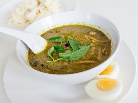 beef or chicken Green curry with Thai rice nodle  Thai cuisine  photo