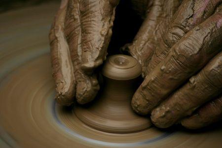 artisanale: pottenbakker Stockfoto