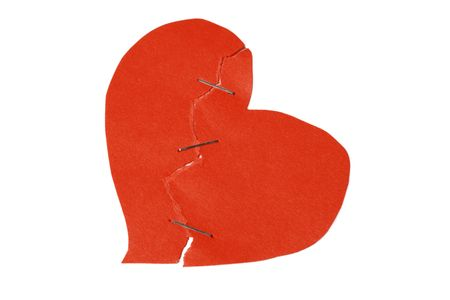 broken and restored heart on white background Stock Photo - 2369325
