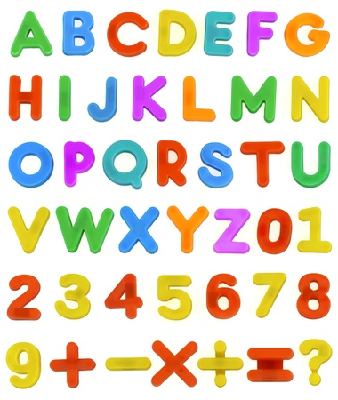 plus minus: A Childs magnetic plastic ABC Letters laid out Alphabetically.