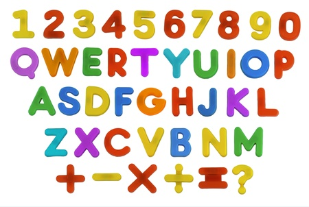 A Childs magnetic plastic ABC Letters laid out in QWERTY presentation. photo