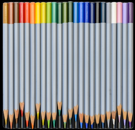 A Rainbow of Water-Colour Pencils laid out in their Black Box. photo