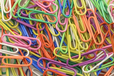 Colourful presentation of Paper-Clips in a pile. photo