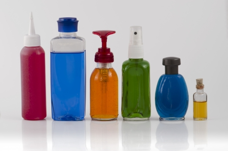 Grouping of Colourful Cosmetic Bottles  photo