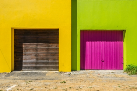 neighbouring: A Set of Colourful Neighbouring Garages.
