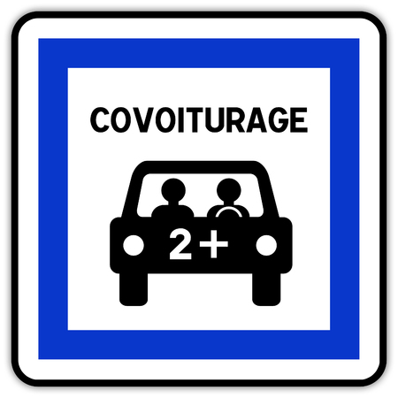 Road sign in France: carpool area - carpool parking - carpooling Banque d'images