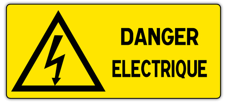 High Voltage Sign. Danger symbol. Black arrow isolated on white triangle on white background. Warning icon.