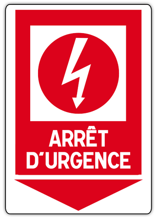 stickers in France with English writing: emergency power cut Banque d'images