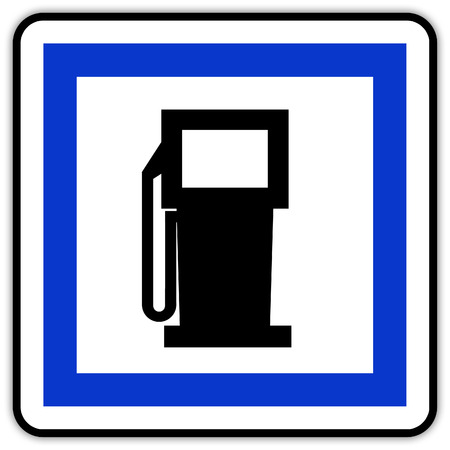 Road sign in France: gas station with Banque d'images