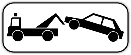 Road sign in France: prohibition parking - do not park - impound