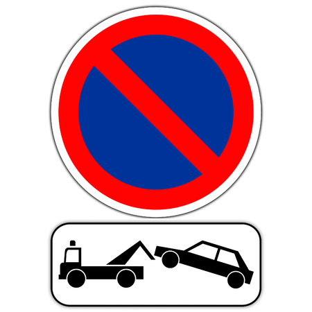 Road sign in France: forbidden station - impoundment of the vehicle Stockfoto