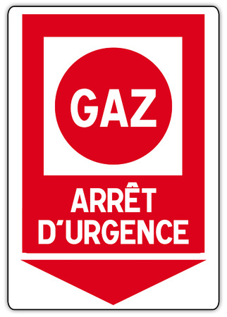stickers in France with English writing: emergency gas cut