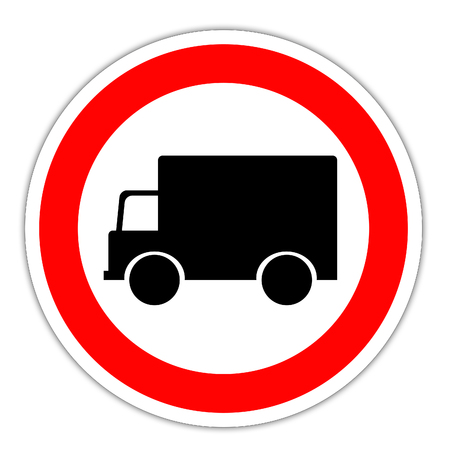 Road sign in France: ban on trucks - no truck Banco de Imagens