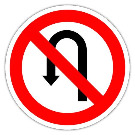 Road sign in France: Isolated transit signal on a white background - no go back 版權商用圖片