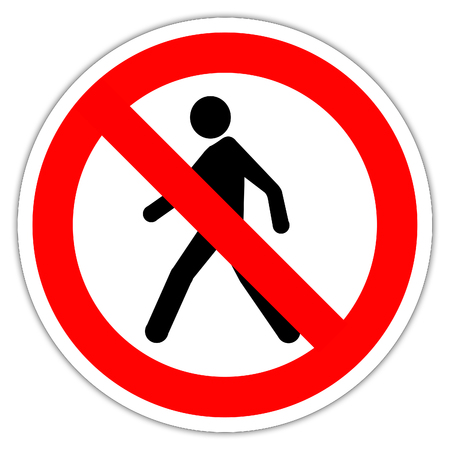 No Pedestrian Access industrial sign illustration