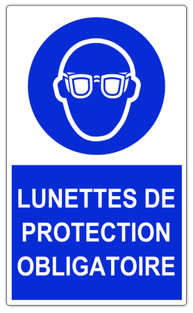 Blue Mandatory Sign isolated on white - Safety glasses and eye protection must be worn - Wearing the glasses