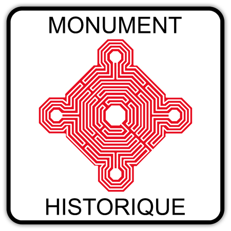 road sign in France: historical monument - classified site - heritage of France - site to visit - cultural site