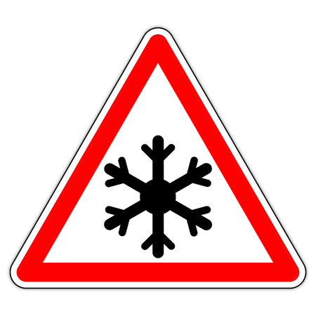 road sign in France: beware snow - ice in the mountains 写真素材 - 108567763