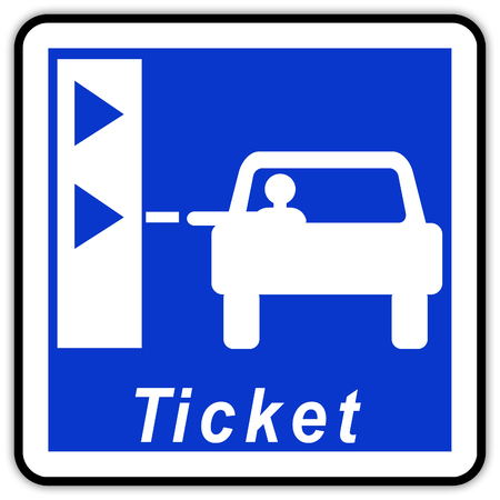 road sign in France: Highway toll - Highway ticket - Counter at the entrance of the motorway
