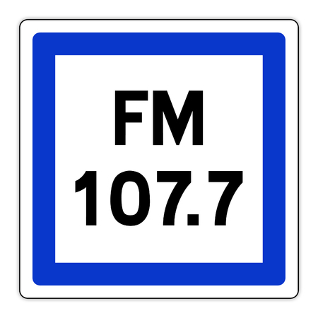 road sign in France: radio frequency
