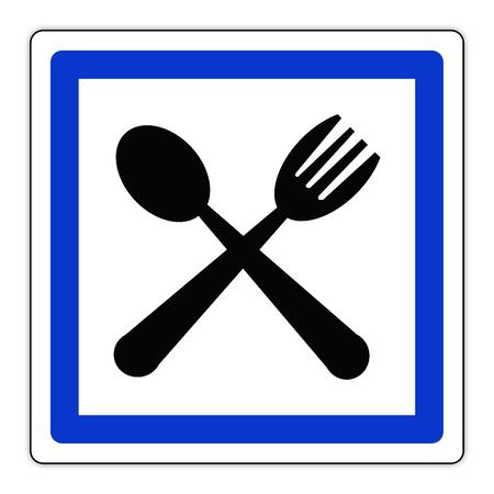 Road sign in France: Restaurant