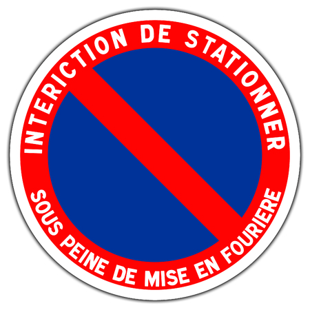 Road sign in France: forbidden station