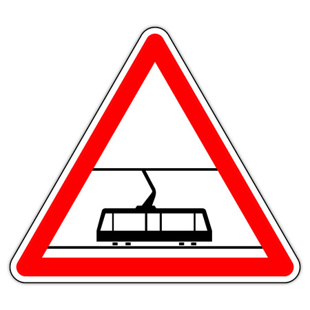 road sign in France: hostel - beware of the tramway
