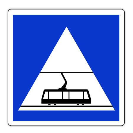 Road sign in France: ROAD reserved TRAM