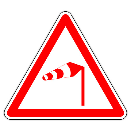 road sign in France: pay attention to the wind Banque d'images