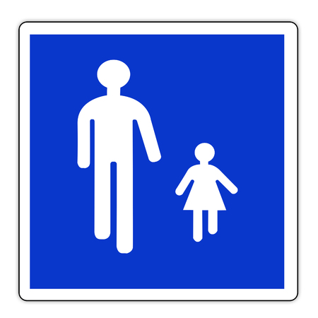 Road sign in France: pedestrian zone - traffic signal Pedestrians on the road - pedestrian on crosswalk