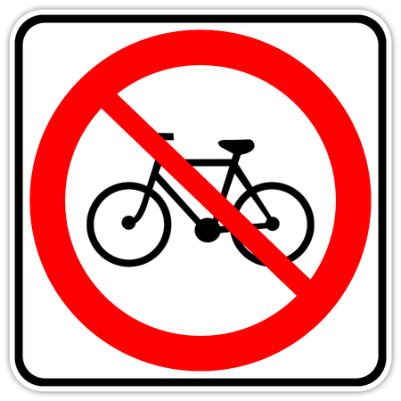 road sign in Quebec and Canada: No bicycles Guide and information road sign in Quebec, Canada