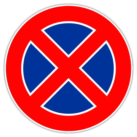 Road sign in Italy: arking prohibition - do not park Banque d'images