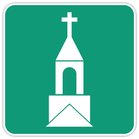 road sign in Quebec and Canada: Church Guide and Information Road Sign in Quebec, Canada Banque d'images