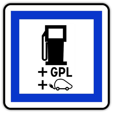 Road sign in France: electric station charger and GPL plug Banque d'images
