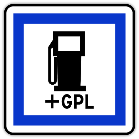 Road sign in France: gas station with GPL plug Banque d'images