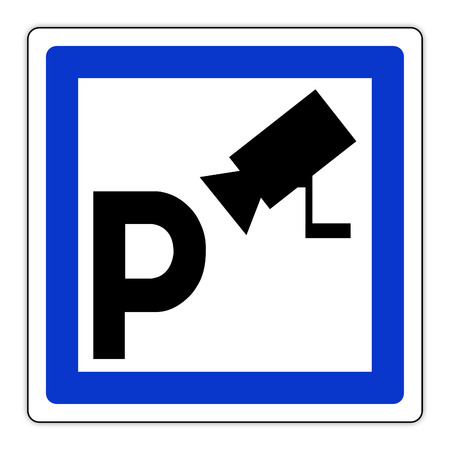 Road sign in France: guarded parking Banque d'images