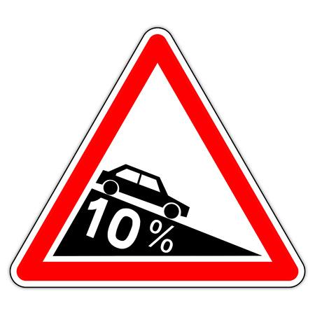 road sign in France: dangerous decent to 10% (ten percent)