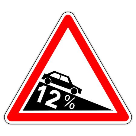 road sign in France: dangerous decent to 12% (twelve percent) Banque d'images