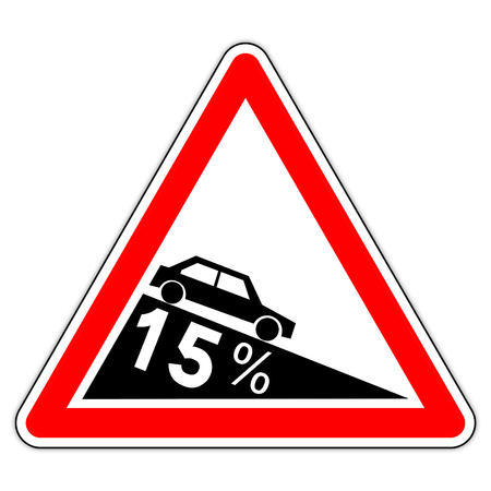 road sign in France: dangerous to 15% (fifteen percent)