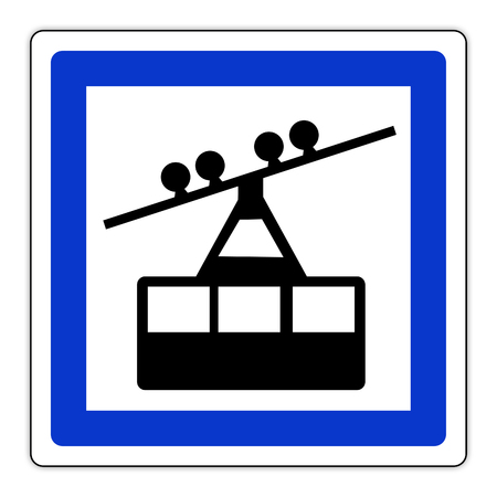 road sign in France: cable car station