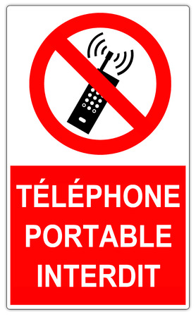 Road sign in France: No mobile phone sign Banque d'images