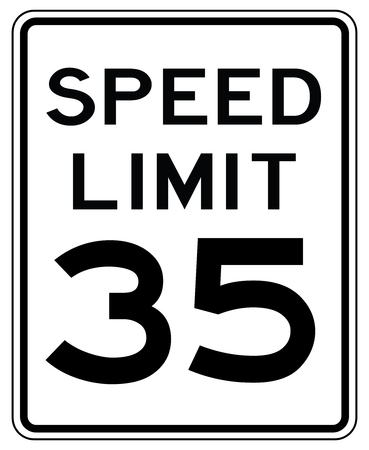American road sign in the United States: speed limited to 35 mp / h - speed limit to thirty five miles per hour