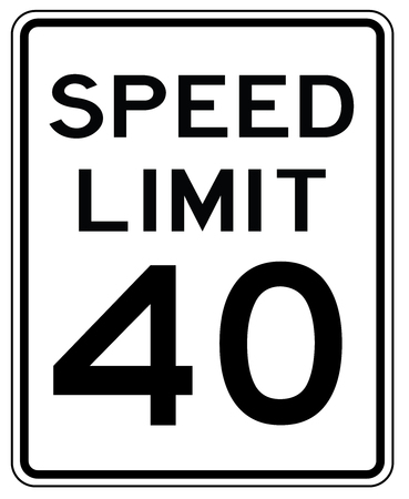 American road sign in the United States: speed limited to 40 mp  h - speed limit to forty miles per hour
