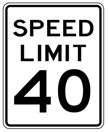 Segnale stradale americano negli Stati Uniti: velocità limitata a 40 mp / h - limite di velocità a quaranta miglia all'ora