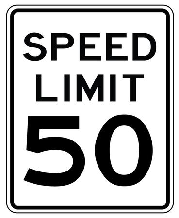 Panneau routier américain aux États-Unis: vitesse limitée à 50 mp / h - vitesse limite à cinquante miles par heure Vecteurs
