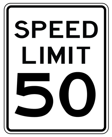American road sign in the United States: speed limited to 50 mp  h - speed limit to fifty miles per hour