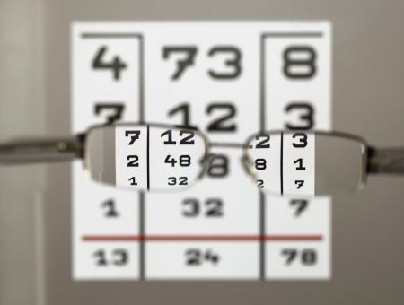 corrective: Eye test chart with eyeglasses